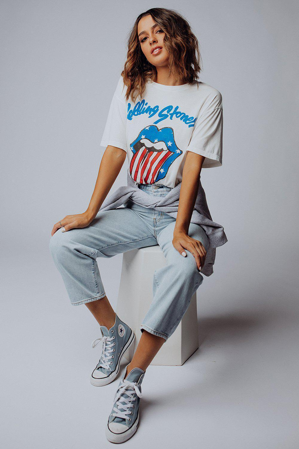best_seller, Rolling Stones Stars And Stripes Boyfriend Tee - FINAL SALE, Tees, women's clothing, dresses, skirts, coats, jackets, shoes, boots, tops, tee shirts, jeans, free people, levi's, rollas, jumpsuits, bottoms, tops, sweaters, pullovers, pants, shorts, sweats,.