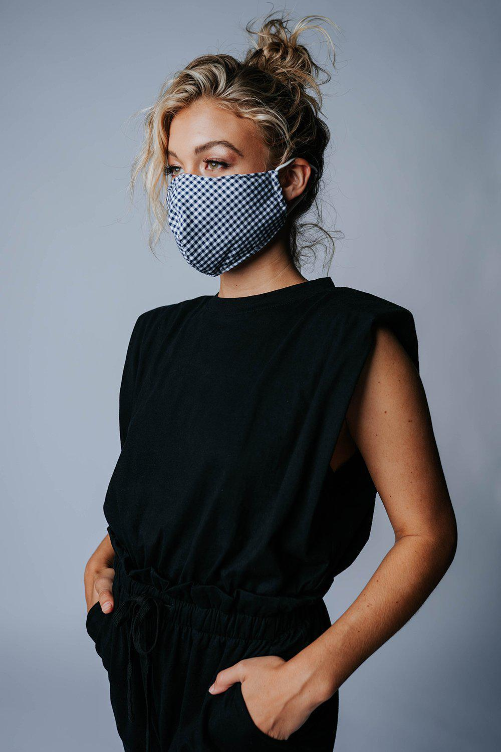 best_seller, Safe & Sound Gingham Face Mask in Blue, Accessory, women's clothing, dresses, skirts, coats, jackets, shoes, boots, tops, tee shirts, jeans, free people, levi's, rollas, jumpsuits, bottoms, tops, sweaters, pullovers, pants, shorts, sweats,.