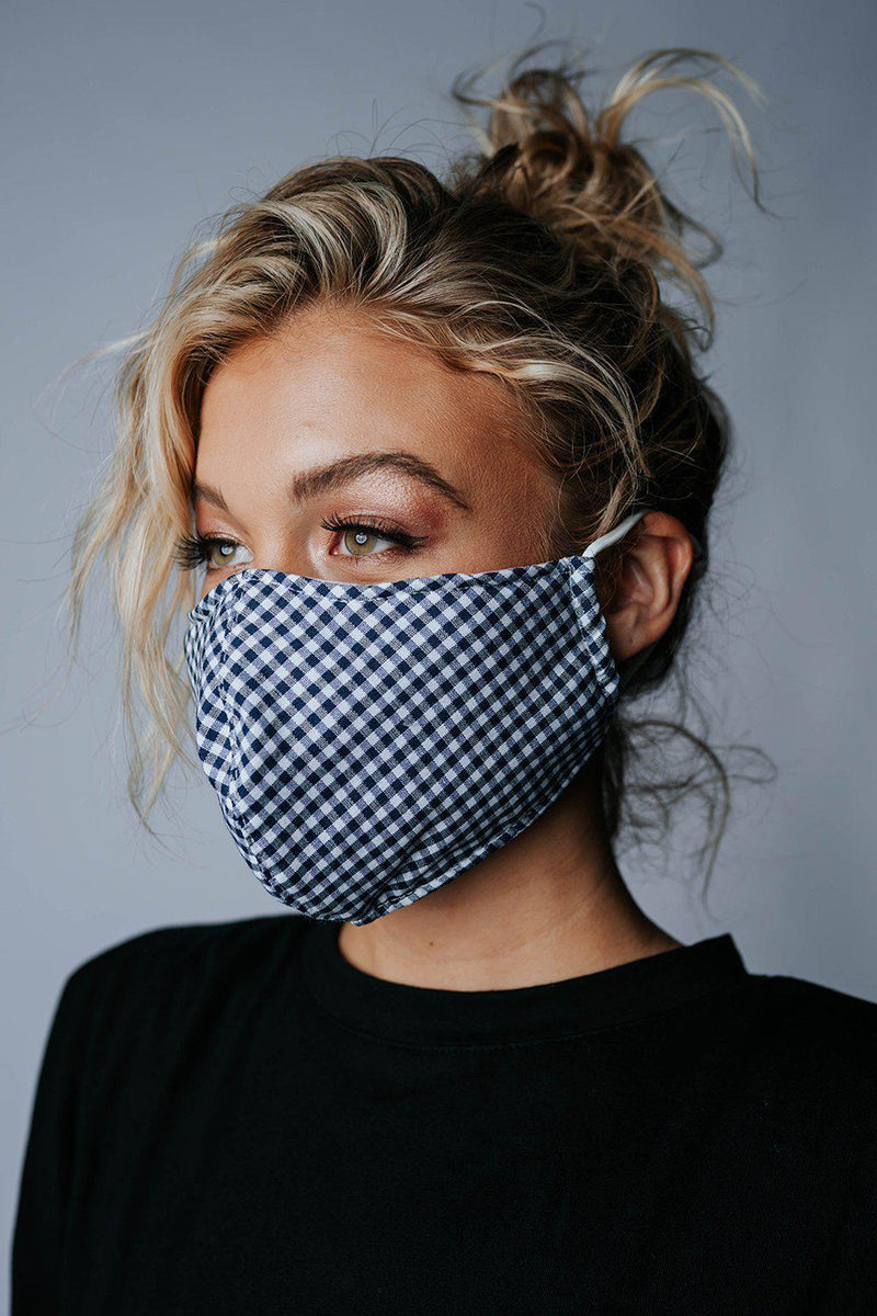Clad and Cloth, Safe & Sound Gingham Face Mask in Blue, Clad & Cloth, Accessory.