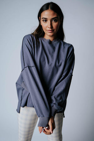 best_seller, Strangers Pullover in Slate Blue, Top, women's clothing, dresses, skirts, coats, jackets, shoes, boots, tops, tee shirts, jeans, free people, levi's, rollas, jumpsuits, bottoms, tops, sweaters, pullovers, pants, shorts, sweats,.