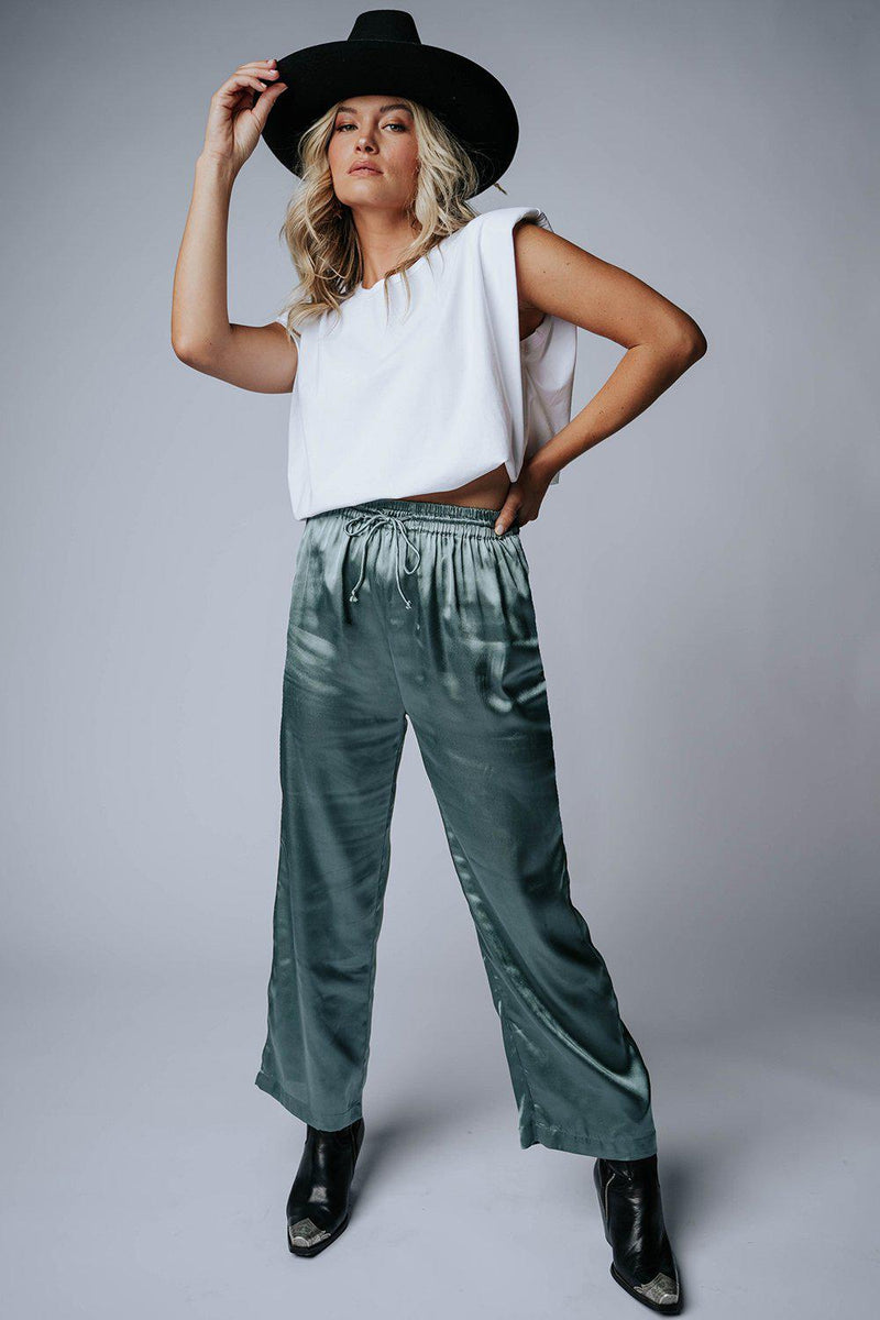 Clad and Cloth, Take Me Away Satin Pants in Sage, Bobbie Wren, Bottom.