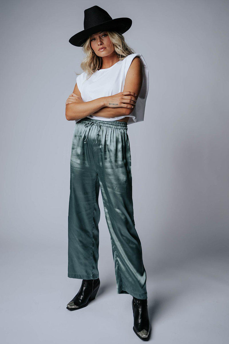 best_seller, Take Me Away Satin Pants in Sage, Bottom, women's clothing, dresses, skirts, coats, jackets, shoes, boots, tops, tee shirts, jeans, free people, levi's, rollas, jumpsuits, bottoms, tops, sweaters, pullovers, pants, shorts, sweats,.