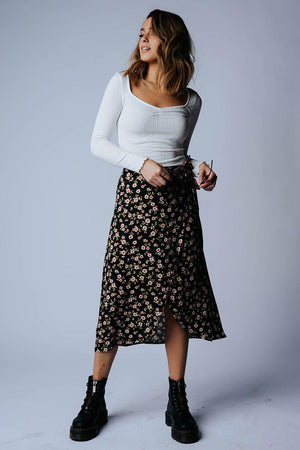 That's My Girl Floral Midi Skirt in Coral Combo, cladandcloth, n/a.