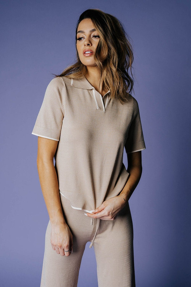 The Renata Top in Taupe-Top-MOVINT-XS-Clad & Cloth