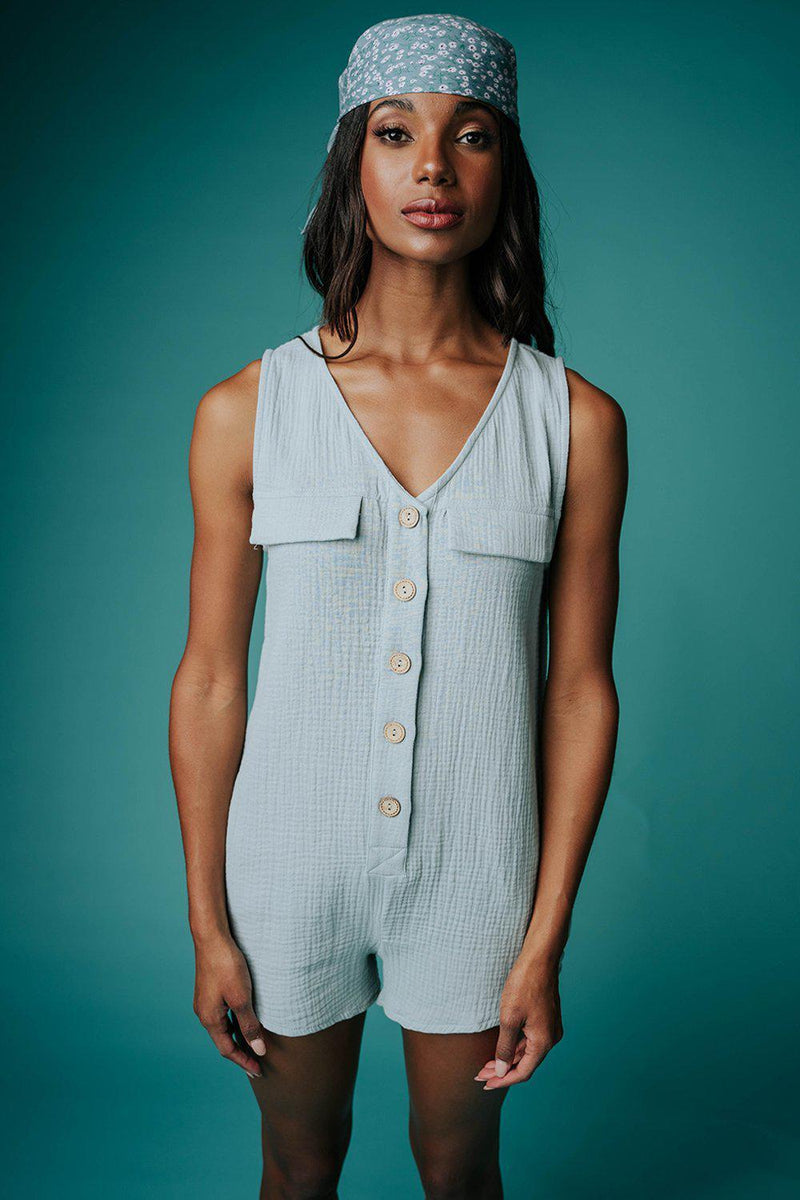 Ticket to Paradise Romper in Sage, cladandcloth.