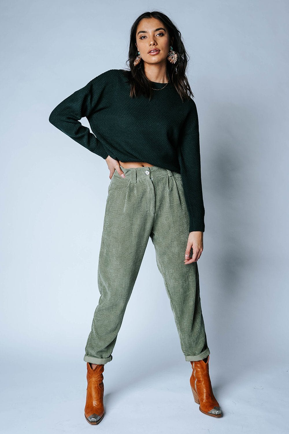 Tommy Corduroy Pants in Olive-Bottom-Bailey Rose-S-Clad & Cloth