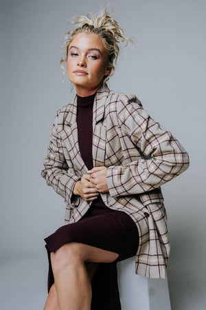Unbothered Oversized Plaid Blazer-Top-n/a-S-Clad & Cloth