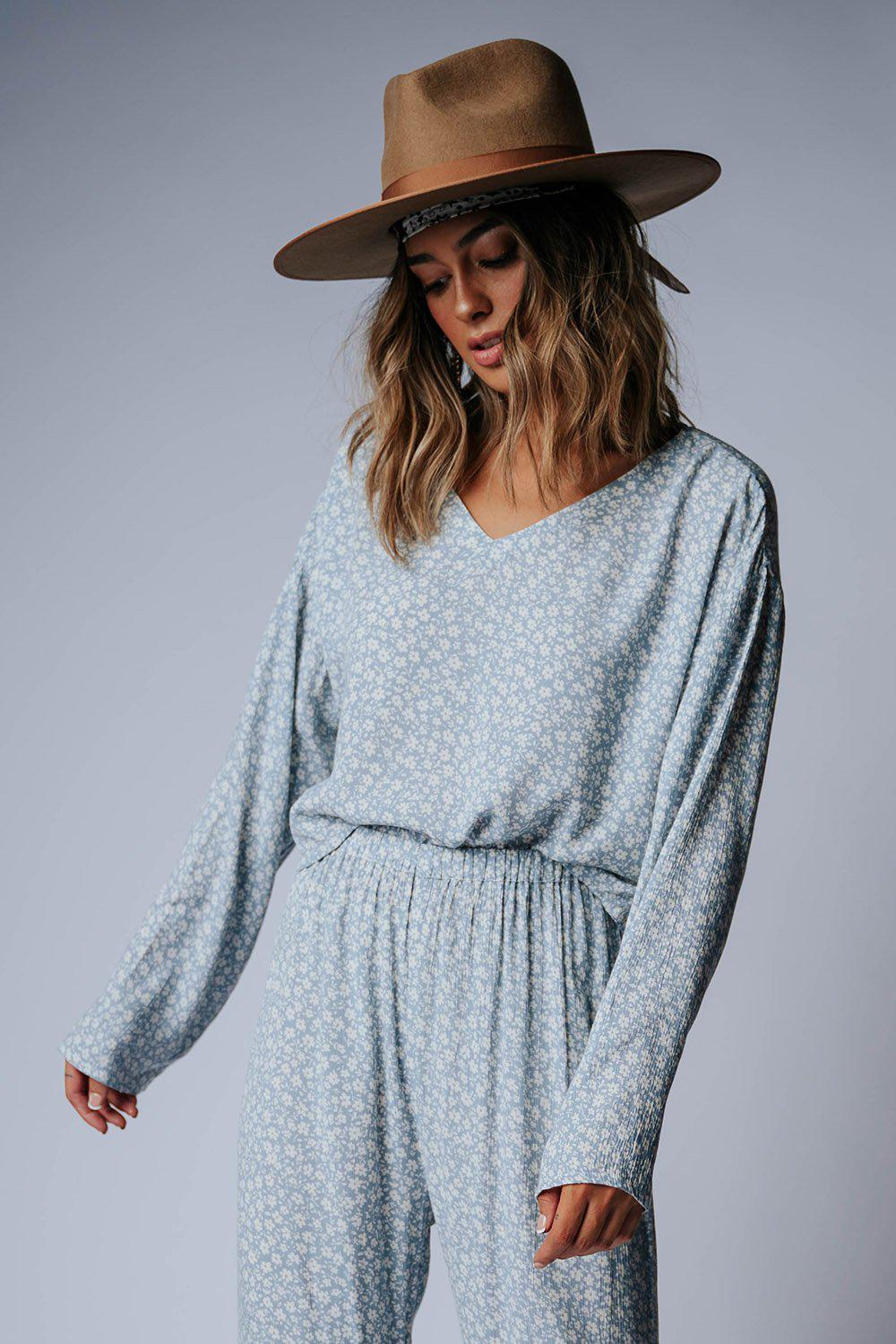 best_seller, Wren Top in Blue Floral, Bottom, women's clothing, dresses, skirts, coats, jackets, shoes, boots, tops, tee shirts, jeans, free people, levi's, rollas, jumpsuits, bottoms, tops, sweaters, pullovers, pants, shorts, sweats,.
