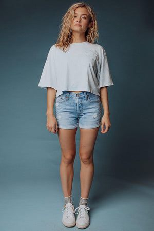 best_seller, Young Love Crop Tee in Blue Dream, Tees, women's clothing, dresses, skirts, coats, jackets, shoes, boots, tops, tee shirts, jeans, free people, levi's, rollas, jumpsuits, bottoms, tops, sweaters, pullovers, pants, shorts, sweats,.