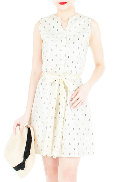 Ahoy, Gorgeous! Nautical A-Line Button Down Dress - Cream