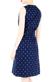Ahoy, Gorgeous! Nautical A-Line Button Down Dress in Knee Length - Deep Blue