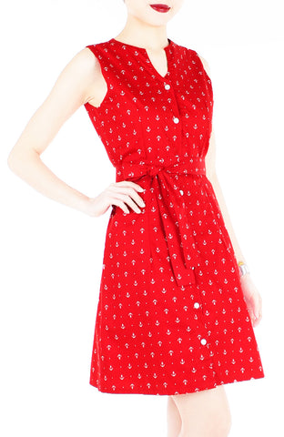 Ahoy, Gorgeous! Nautical A-Line Button Down Dress - Cherry Red