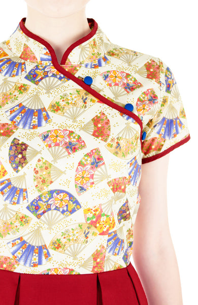 Artisanal Rouge Geisha Cheongsam Dress