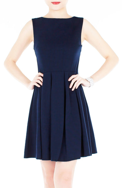 'Audrey Hepburn' PETITE Flare Dress - Midnight Blue