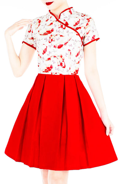 Auspicious Koi Cheongsam Dress