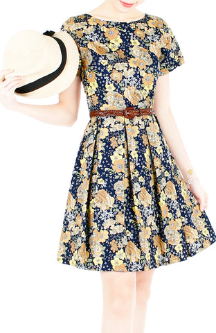 Autumn Adventures Flare Dress with Short Sleeves