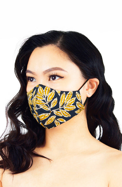 Batik Feuille Pure Cotton Face Mask - Mustard