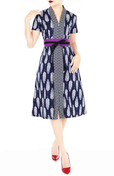Batik Leaf Lian Kebaya Dress with Obi Belt - Seigaiha Blue