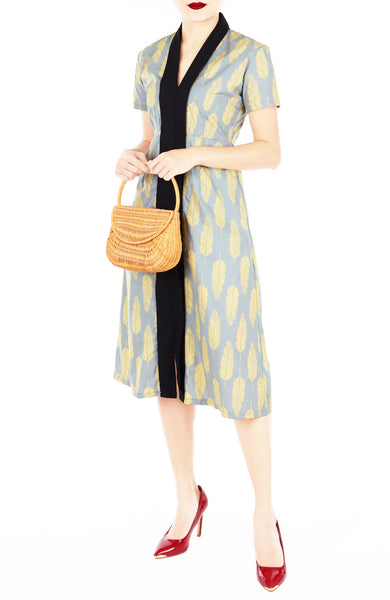 Batik Leaf Lian Kebaya Dress with Obi Belt - Turmeric