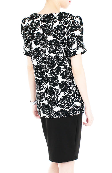 Black Monochrome Rose Blouse with Sleeves