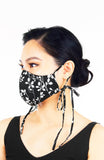 Black Vines Devine Pure Cotton Face Mask with Head Ties