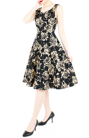 Black Desert Rose Flare Midi Dress