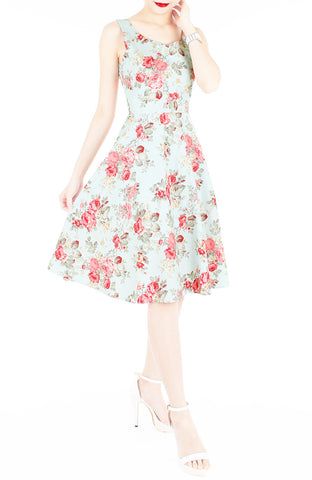 Blossoms Up Flare Midi Dress