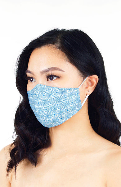 Bohemian Moroccan Gypsy Pure Cotton Face Mask - Sky Blue