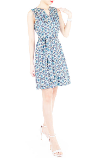 Bohemian Marrakech A-Line Button Down Dress - Egyptian Blue