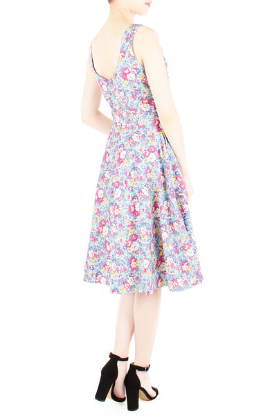 Botanical Brunch Floral Flare Midi Dress - Aquamarine