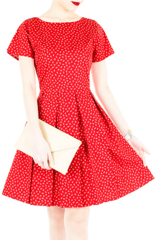 Bountiful Baby Blooms Flare Dress with Short Sleeves