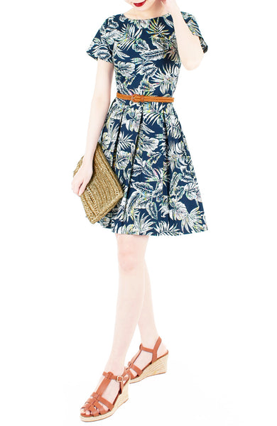 Brunch in Batik Flare Dress with Short Sleeves