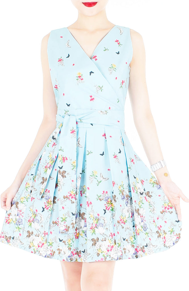 Butterfly Of Paradise Wrap Dress With Belt Baby Blue At Whitesoot