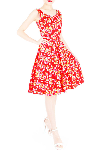 Celebratory Sakura Blooms Flare Midi Dress - Red