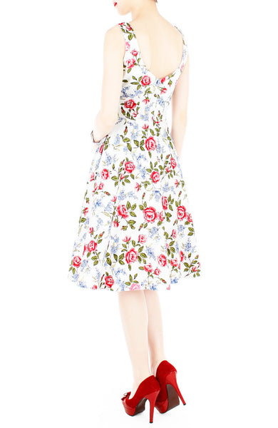 Charming Roses of Hearts Flare Midi Dress