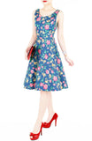 Charming Roses of Hearts Flare Midi Dress - Vintage Blue