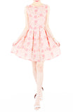 Charming Cherry Blossoms Flare Dress - Pink