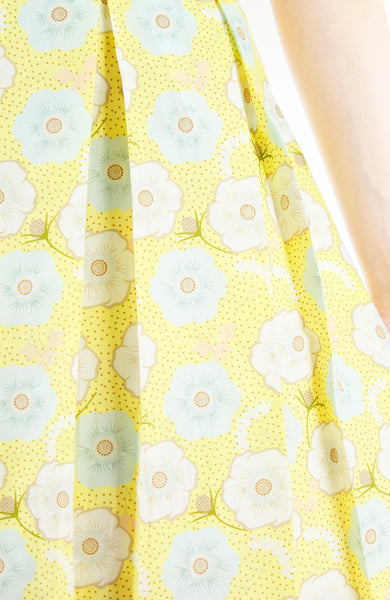Charming Cherry Blossoms Flare Dress - Yellow