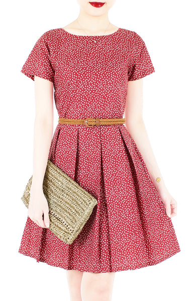 Charming Clematis Flare Dress with Short Sleeves