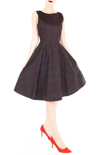 Charming Clematis Flare Midi Dress - Noir & Ruby
