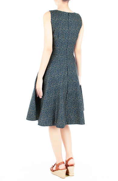 Charming Clematis Flare Midi Dress - Prussian Blue