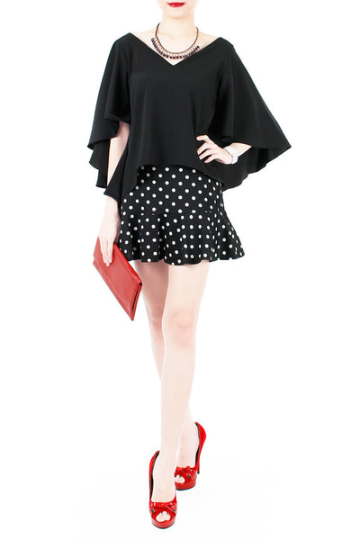 Charming Polka Dot Mini Trumpet Skirt with Safety Shorts