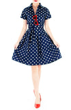 Charming Polka Dots Anna Shirtdress - Midnight Blue
