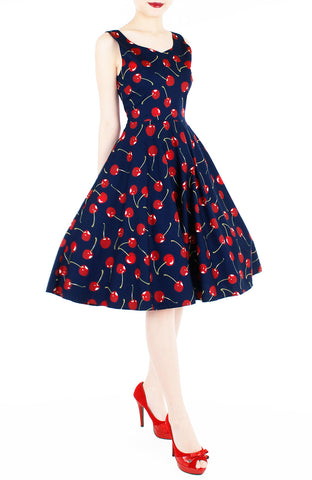 Cherry, Cherry Lips Flare Midi Dress