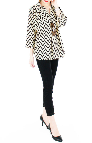 Chevron City Pursuit Blouse - Vanilla