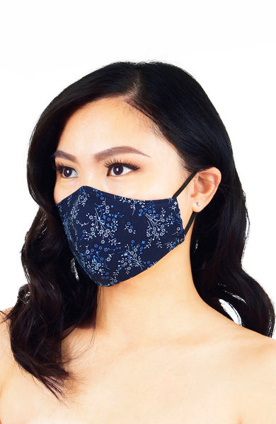 Chinoiserie Sakura Pure Cotton Face Mask - Azure Blue