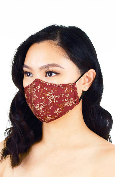 Chinoiserie Sakura Pure Cotton Face Mask - Mahogany Red