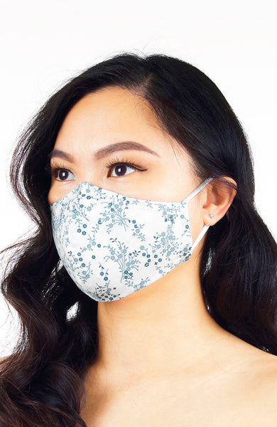 Chinoiserie Sakura Pure Cotton Face Mask - Porcelain White