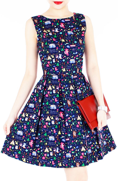Christmas Whimsy in Wonderland Flare Dress - Midnight Blue