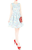 Christmas Whimsy in Wonderland Flare Dress - Snow Blue